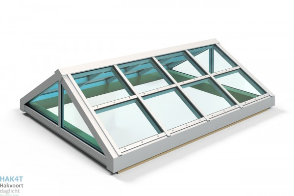 Lichtstraat glas zadeldak met sandwich kopschot D1204210