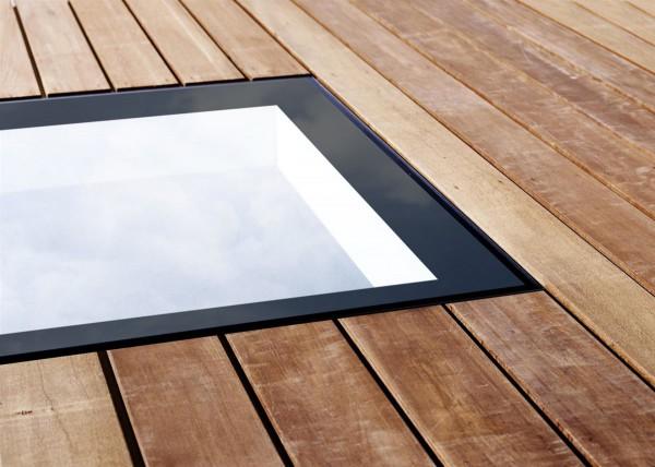 Vlakke lichtkoepel glas HR++ beloopbaar 1000x1000 mm D1101116